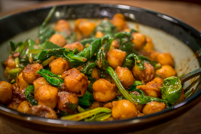 Chickpeas Fried with Harissa and Spinach