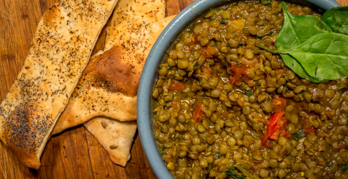 Sweetened Lentils with Cumin and Tomato Served with Cracker Bread