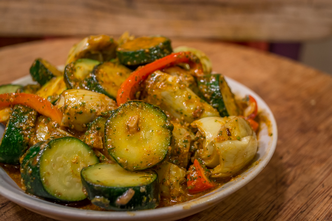 Zucchini and Artichoke Hearts with Charmoula