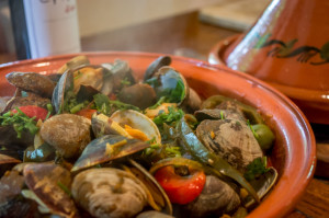 Tagine of clams, olives, and chilies