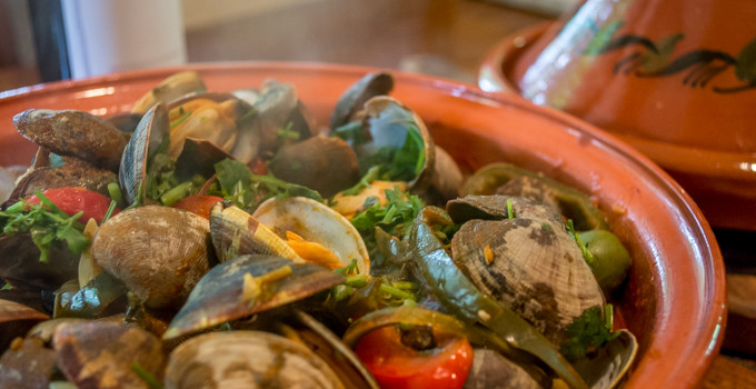 Tagine of Clams with Olives and Chilies