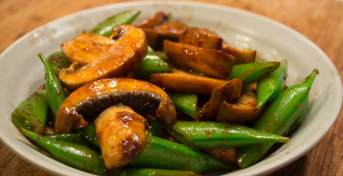 Peas and Mushrooms with Black Vinegar Sauce